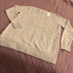 NWT long soft, lt gray sweater w/ colored  flecks